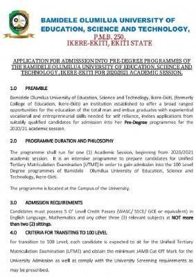 Bamidele Olumilua University of Science and Technology predegree admission, 2020/2021