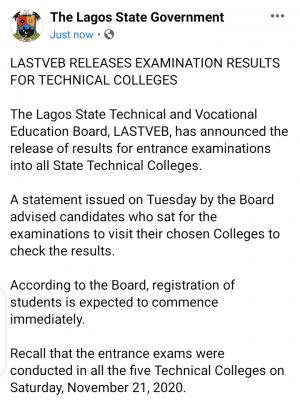 LASTVEB announces release of examination results for Technical Colleges