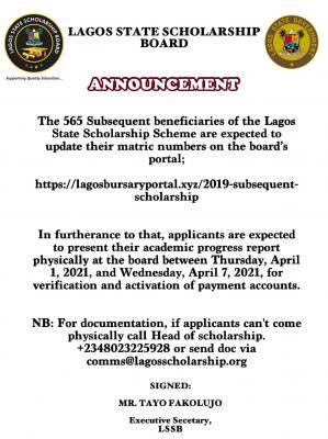 Lagos Scholarship Board notice to 2019 subsequent scholarship beneficiaries