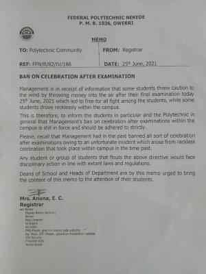 Fed Poly, Nekede bans final exam celebration