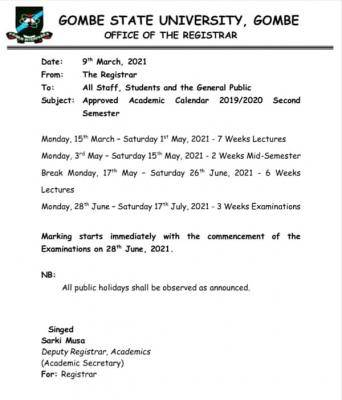 Gombe State University 2nd semester approved academic calendar, 2019/2020