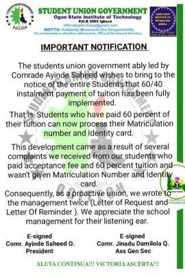 OGITECH SUG notice on payment of schools fees in installments