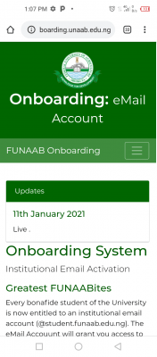 FUNAAB notice to students on institutional email activation
