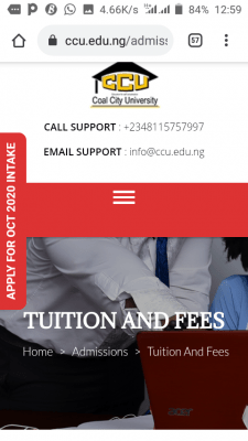 Coal City University school fees and charges for 2020/2021 session