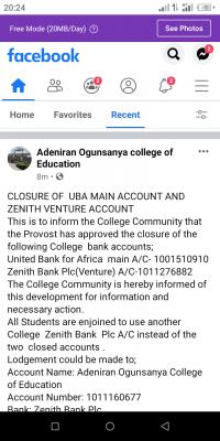 Adeniran Ogunsanya college of Education notice to students
