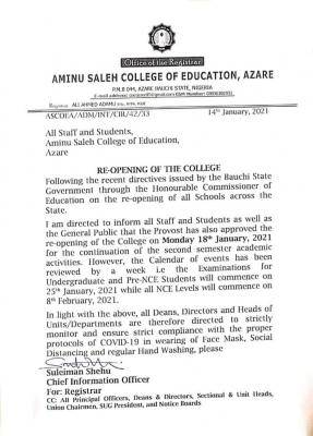 Aminu Saleh COE notice on reopening of the College