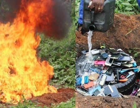 Exam Malpractice: Polytechnic Ibadan Burns Phones Worth Millions of Naira