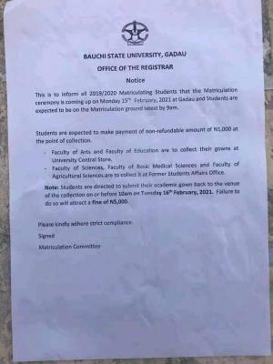 BASU announces matriculation ceremony, 2019/2020