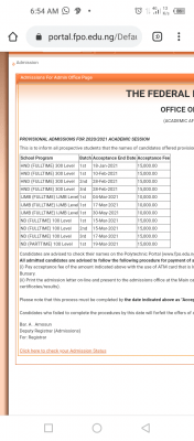 OFFAPOLY 1st Batch ND Part-time admission list for 2020/2021 session