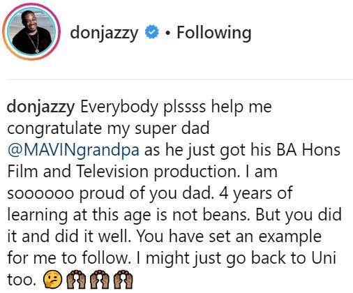 Don Jazzy's Dad Graduates From Dundalk Institute After 4 Years