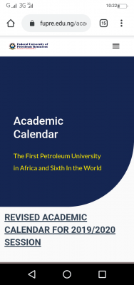 FUPRE revised academic calendar for 2019/2020 and 2020/2021 sessions