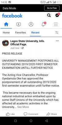 LASU postpones outstanding 1st semester exams, 2019/2020 until further notice