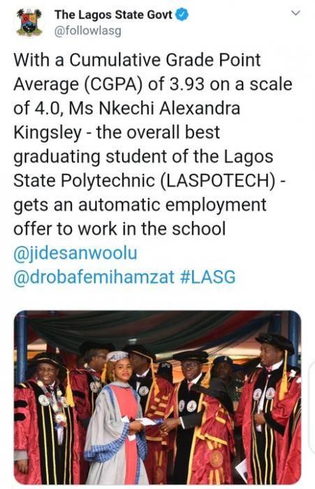 Lagos Polytechnic Best Graduating Student Gets Automatic Employment.