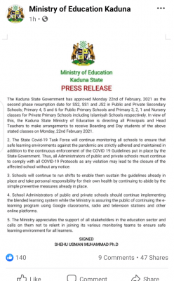 Kaduna State Government announces 2nd phase of resumption