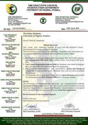 UNN SUG notice to students on course registration