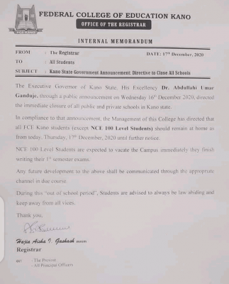 Federal College of Education, Kano announces closure of school