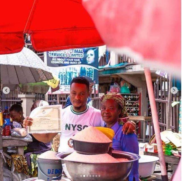 Graduate Celebrates Passing out of NYSC with His Mother at the Market