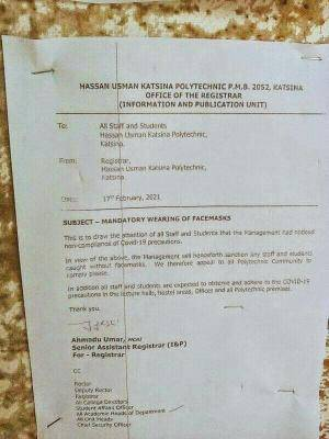 HUKPOLY notice to staff and students on mandatory use of nosemasks