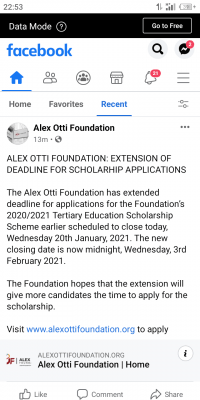 Alex Otti Foundation 2021 scholarship application deadline extended