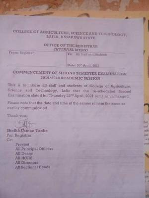 College of Agriculture, Lafia notice on 2nd semester exam, 2019/2020