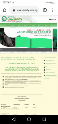 Atiba University school fees for 2020/2021 academic session