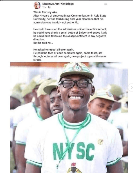 Corps Member Recounts How he was Told his Admission was Invalid on Graduation Day and had to Repeat Another 4-years