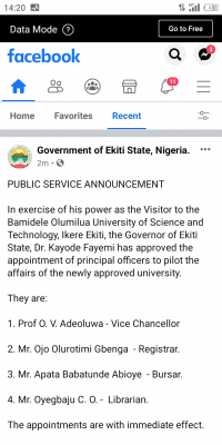 Ekiti State Governor appoints principal officers for newly approved University
