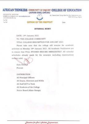 ATCOI College of Education notice on resumption