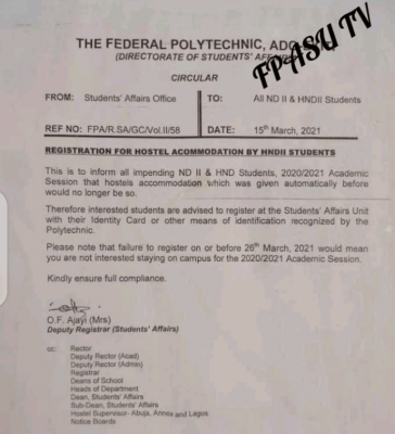 Fed Poly Ado-Ekiti notice to ND II and HND students on hostel registration
