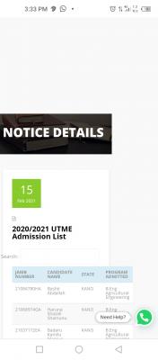 KUST, Wudil admission list for 2020/2021 session