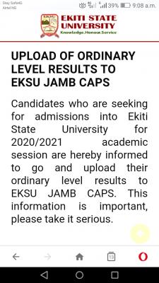 EkSU notice to 2020 Post-UTME candidates on uploading of results