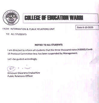 Management of College of Education, Warri suspends Covid-19 fee