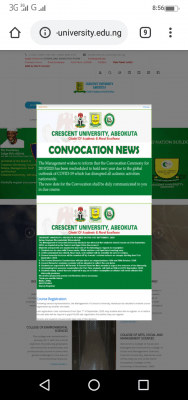Crescent University postpones Convocation Ceremony for 2019/2020 session
