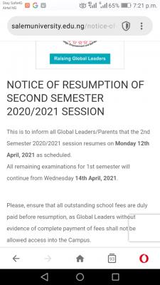 Salem University notice on 2nd semester resumption, 2020/2021 session