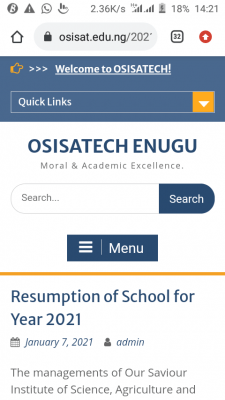 OSISATECH Enugu announces resumption of academic activities