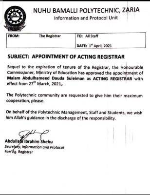 NUBAPOLY appoints new Registrar