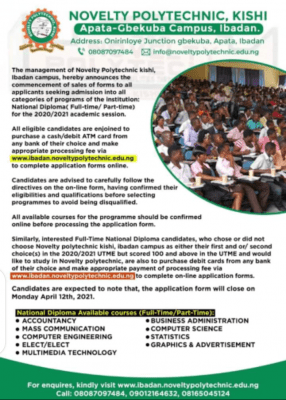 Novelty Polytechnic ND (Full-time/Part-time) admission forms, 2010/2021