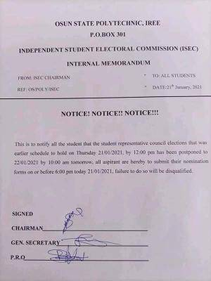 OSPOLY postpones Students' Representative Council Elections