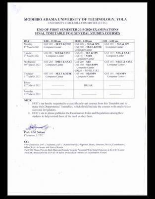 MAUTECH 1st semester GST exam time-table, 2019/2020