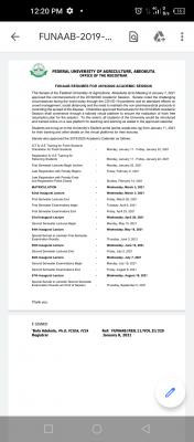 FUNAAB resumption and revised 2019/2020 academic calendar
