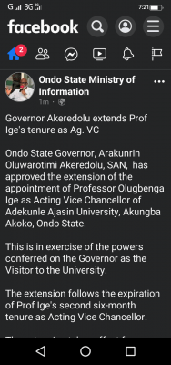 Ondo State Governor extends the appointment of Acting Vice-chancellor of AAUA