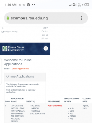 RSUST new deadline for postgraduate applications, 2020/2021
