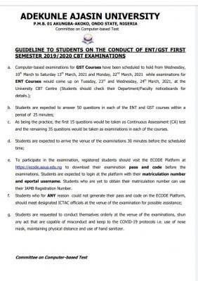 AAUA guidelines for the conduct of ENT/GST 1st semester CBT exam, 2019/2020