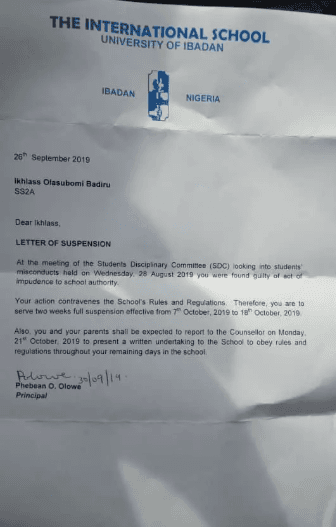 Hijab-Wearing Student Suspended In University of Ibadan International School.
