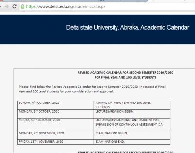 DELSU revised academic calendar for 2019/2020 session