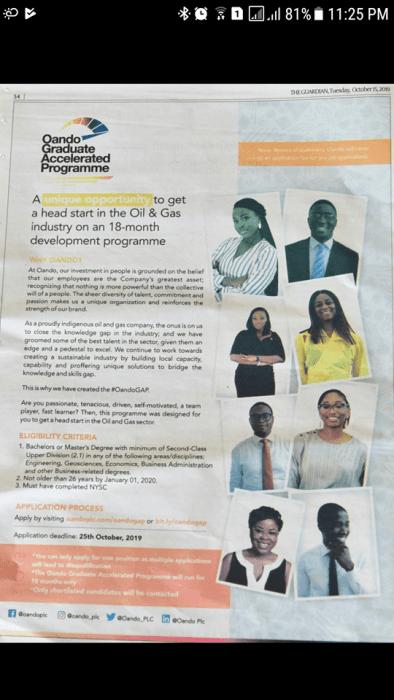 Oando Graduate Accelerated Programme 2019