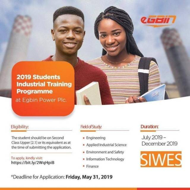 Egbin Power Plc Industrial Training Programme (SIWES) For Undergraduates, 2019