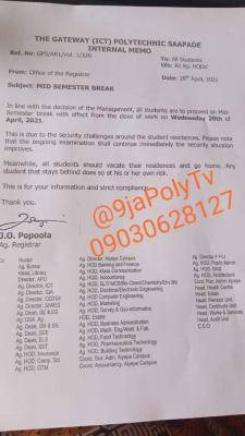 Gateway Polytechnic announces mid-semester break