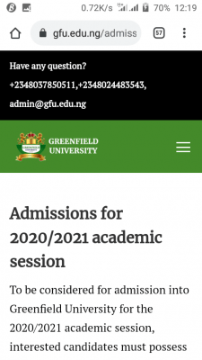 Greenfield University Post-UTME 2020: Cut-off mark, eligibility and Registration details