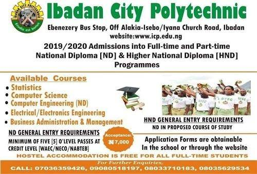 Ibadan City Polytechnic ND and HND Admission (Full-time and Part-time), 2019/2020